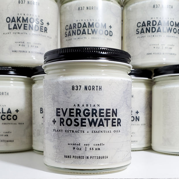 Evergreen + Rosewater, 9 oz. Soy Candle