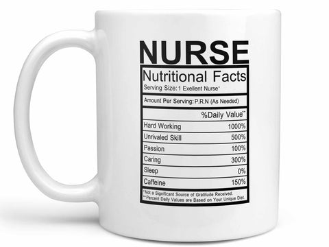 Nurse Nutritional Facts Coffee Mug