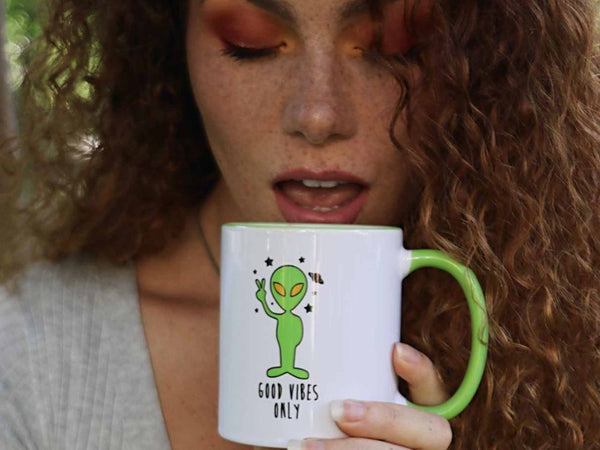 Good Vibes Only Alien Coffee Mug