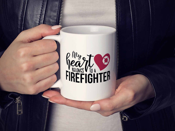 My Heart Firefighter Coffee Mug