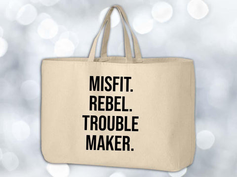 Misfit Rebel Trouble Maker Grocery Tote Bag,Coffee Mugs Never Lie,Grocery Tote Bag