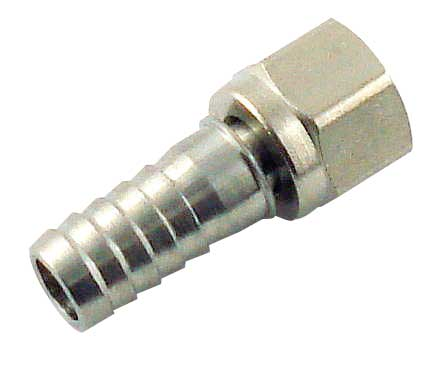 "Flare Fitting - 3/8 inch barb (swivel stem) for 1/4"" nut"