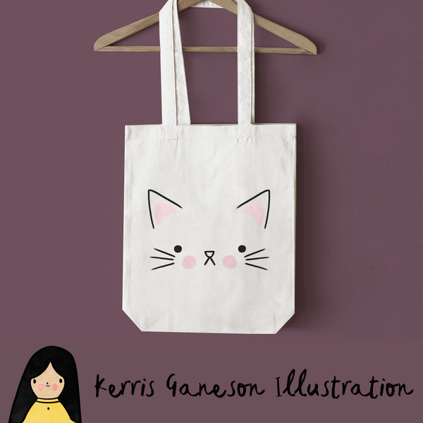Cat Face Tote Bag