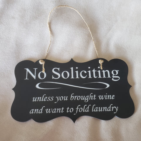 "No Soliciting Signs 10"" x 5 1/2"" Chalkboard Wood"