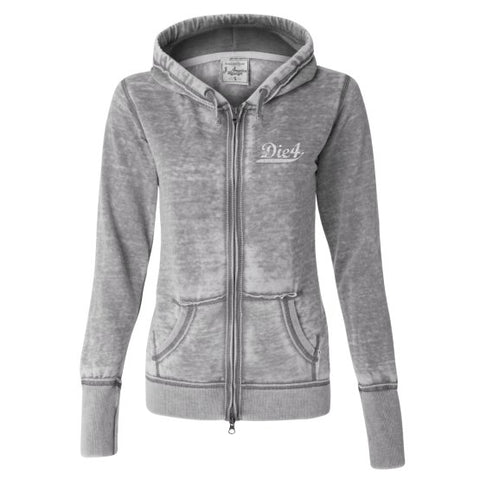 Die4 Sports Stripe Ladies Fleece Full-Zip Hooded Sweatshirt