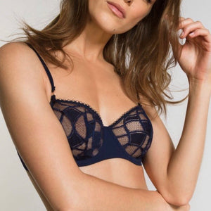 Lou - Geometric Lace Bra - Navy