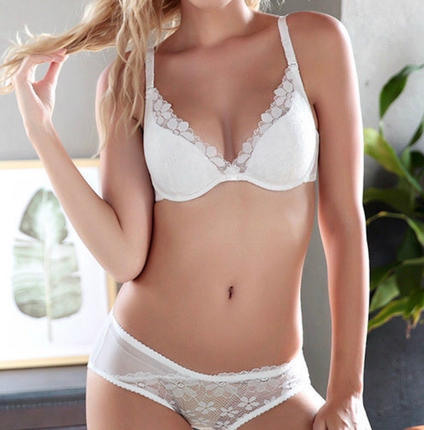 About the Bra - Violet Deep Plunge Bra - White