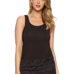 Piege - Modal Lace Tank Top - Black