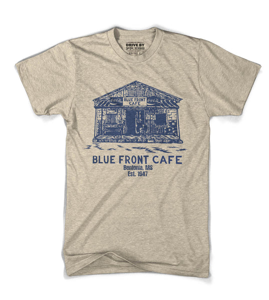 Blue Front Cafe Tee - Natural