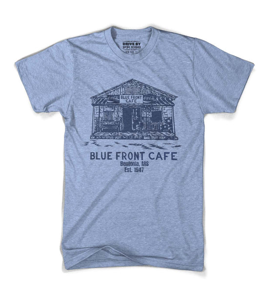 Blue Front Cafe Tee - Blue