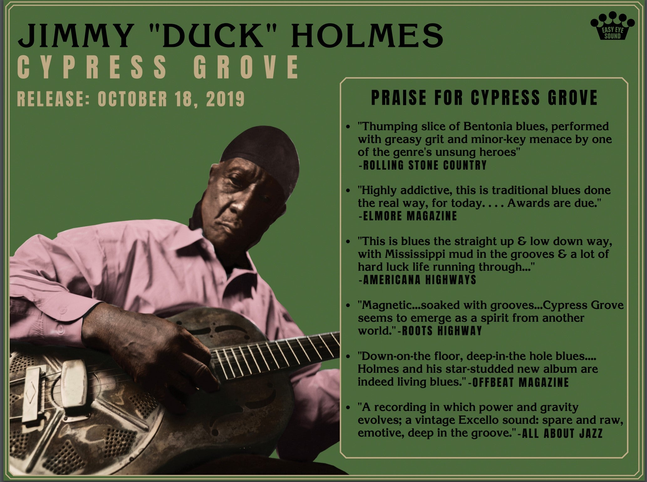 "Jimmy ""Duck"" Holmes - ""CYPRESS GROVE"" - CD"