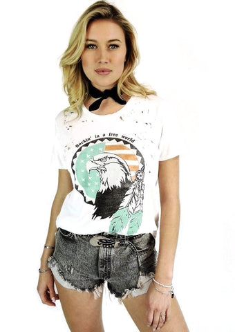 Women's Rockin' in a Free World Relaxed Fit T-Shirt, Cotton Modal Blend, Size XS-L | Brokedown Clothing