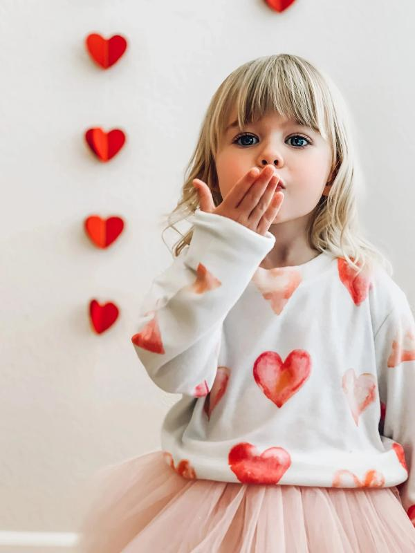 Kids Heart Sweatshirt in White