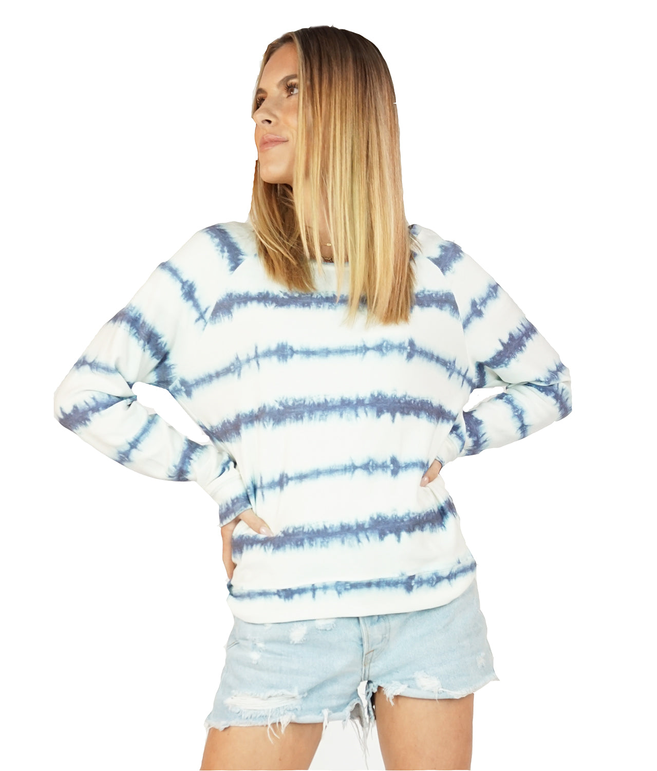Women's Tie-Dye Stripe Sweatshirt, Super Soft Poly/Rayon/Spandex Blend, Size XS-L | Brokedown Clothing