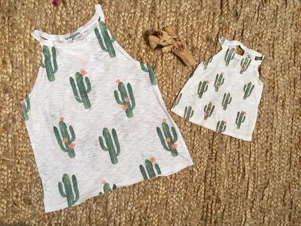 Girl's Cactus Print High Neck Tank Top, Poly/Cotton Blend, Size 12M - 4T | Brokedown Clothing