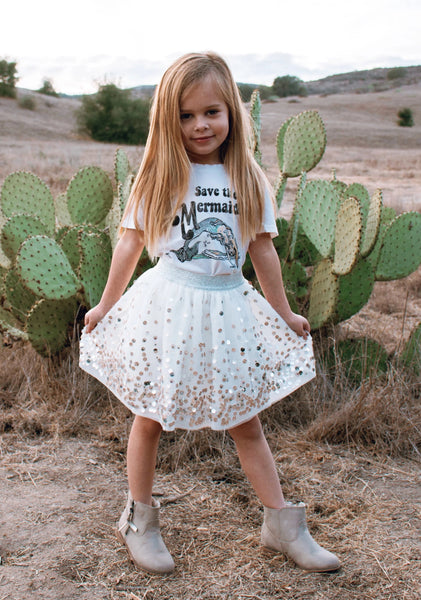 Girl's Save The Mermaids T-Shirt, Super Soft 100% Organic Cotton, Sizes 3M - 4T | Brokedown Clothing