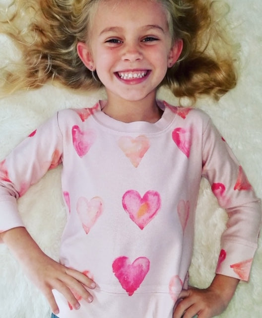 Kids Heart Sweatshirt in Pink