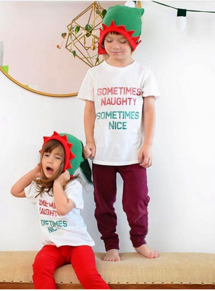 Sometimes Naughty, Sometimes Nice Tee in White, 6mo-10year