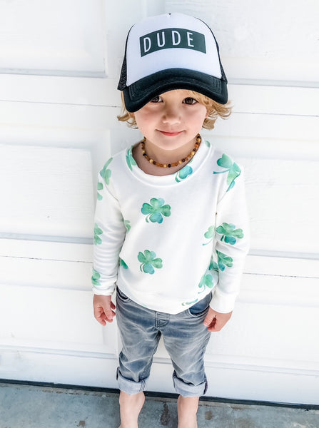 Kids Clover Sweatshirt in Off White
