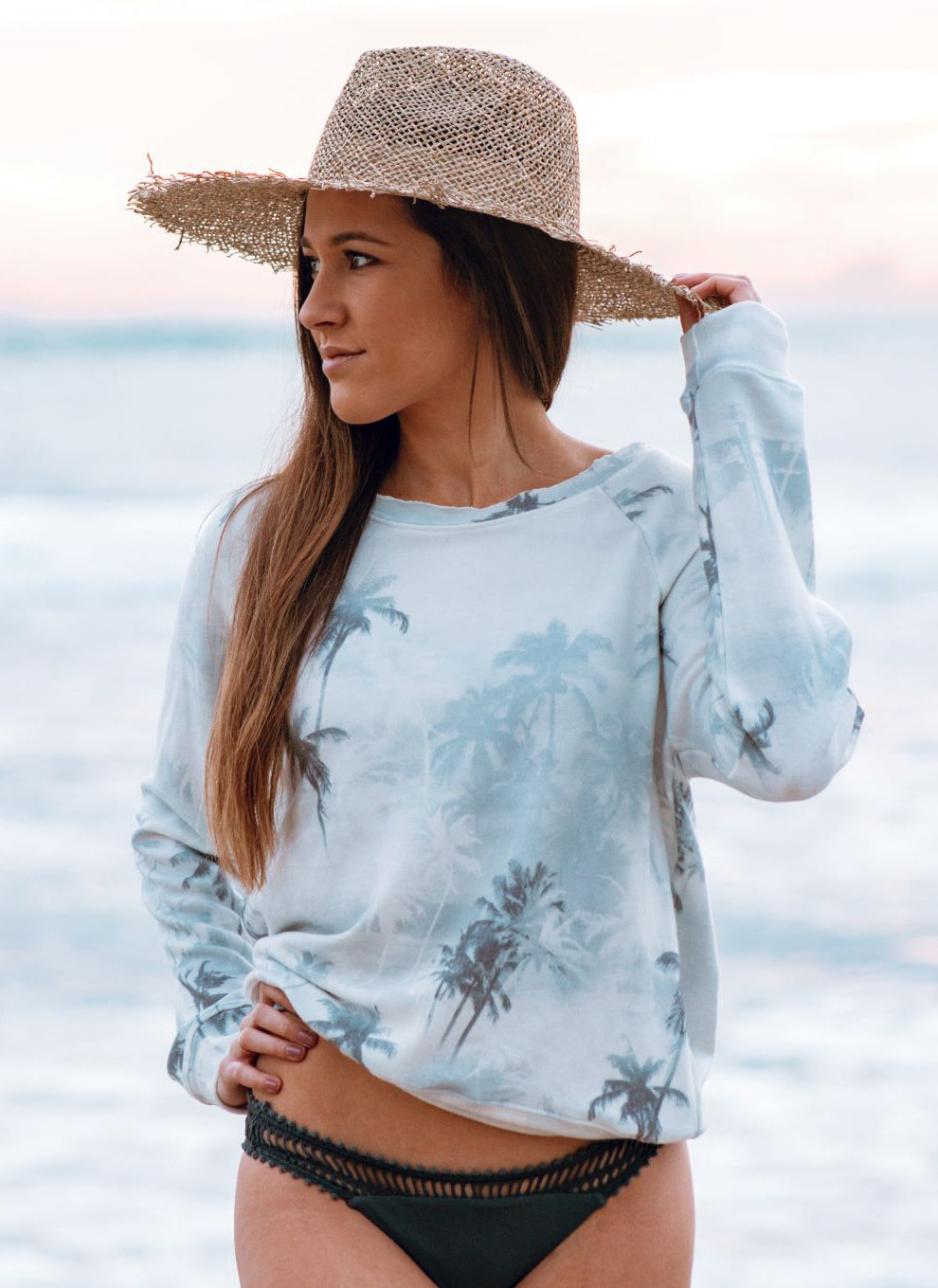 Women's Navy Palm Tree Sweatshirt, Super Soft Poly/Rayon/Spandex Blend, Size XS-L | Brokedown Clothing