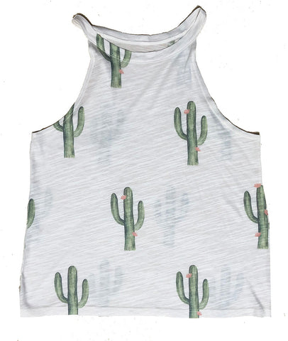 Women's Cactus Print High Neck Tank Top, Poly/Rayon Blend, Size XS-L | Brokedown Clothing