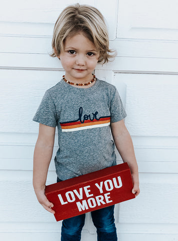 Kids Love Stripe tee in Heather Grey