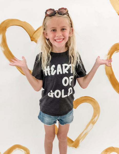 Heart of Gold Kids Tee in Vintage Black