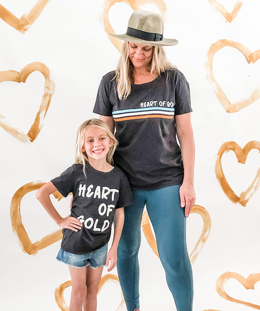 Heart of Gold Women's Tee in Vintage Black