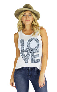 Women's Love Tank in White