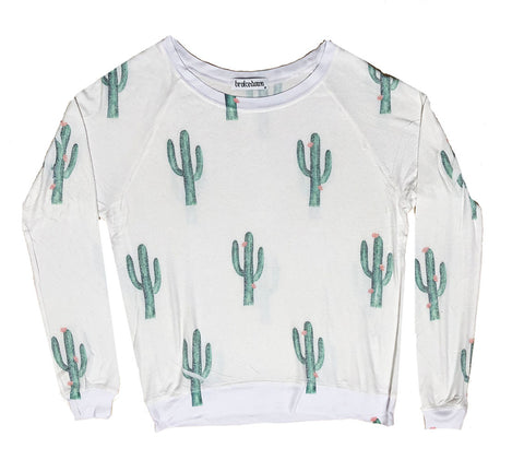 Women's Cactus Print Sweatshirt, Super Soft Poly/Rayon/Spandex Blend, Size XS-L | Brokedown Clothing