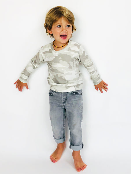 Kids Camo Sweatshirt in light grey