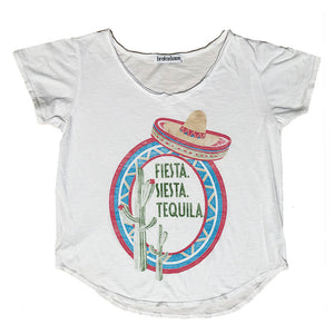 Women's Fiesta Siesta Tequila V-Neck T-Shirt, Super Soft Organic Cotton Blend, Size XS-L | Brokedown Clothing