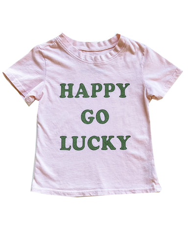Happy Go Lucky Tee in Light Pink