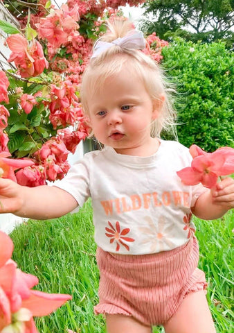 Wildflower Kids Tee in White,12mo-8yr.
