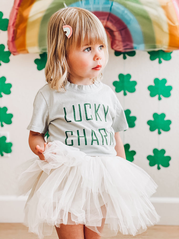 Lucky Charm Kids tee in light olive