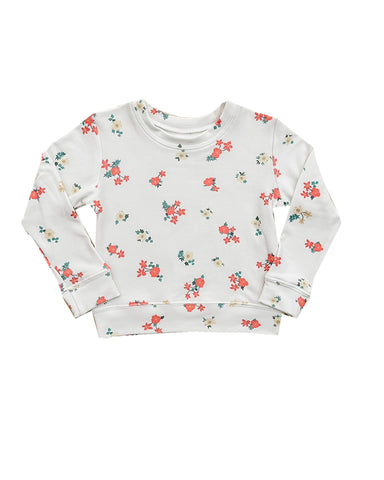 Mini Floral Sweatshirt in off white
