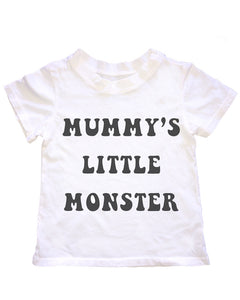 Mummy's Little Monster tee in White, 6mo-6year