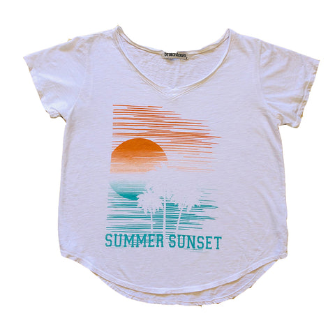 Summer Sunsets Vneck Tee in White