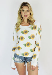 Women's Sunflower Print Super Soft Sweatshirt, Poly/Rayon/Spandex Blend, Size XS-L | Brokedown Clothing