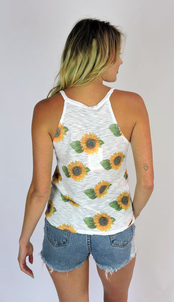 Women's Sunflower High Neck Tank Top, Poly/Rayon Blend, Size XS-L | Brokedown Clothing