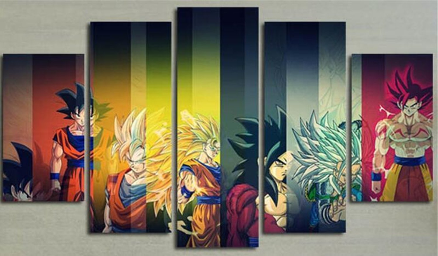 5 Planes Colorful Wall Canvas Painting Dragon Ball Posters Prints ...