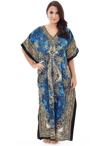 5fe4ceab59 New Women Kaftan Caftan Maxi Dress Blue African Dashiki Hippie Boho Plus  Size