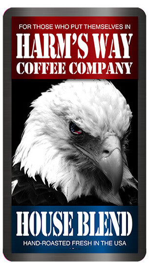 Photo of the front of the coffee bag of Harm's Way Coffee with an image of a bald eagle.