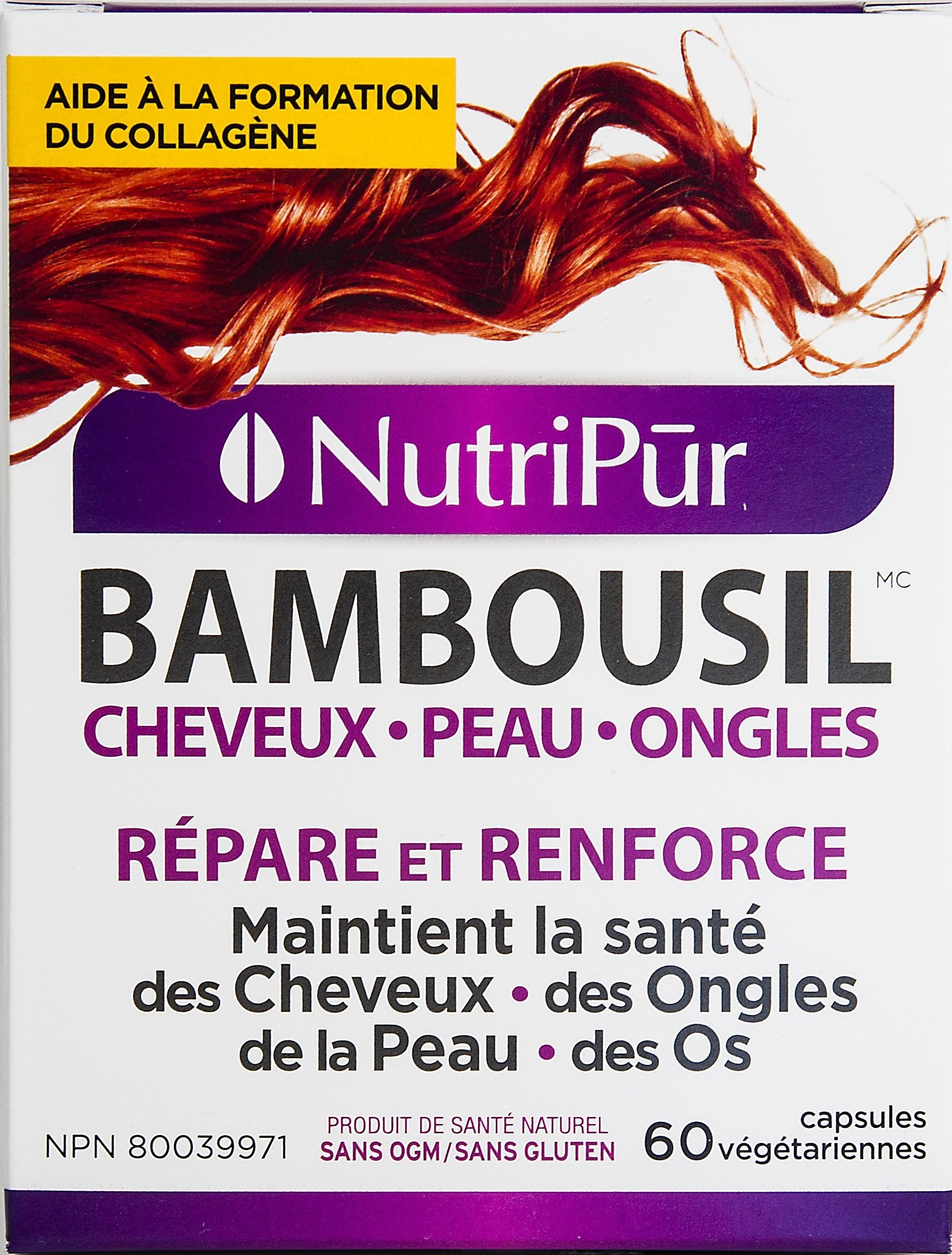 Nutripur Bambousil Hair Skin Nails-60 caps by Nutripur - Ebambu.ca natural health product store - free shipping <59$