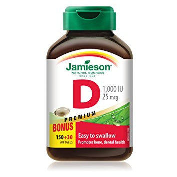 Jamieson Vitamin D Premium softgels 1,000 IU Bonus 150+30 by Jamieson - Ebambu.ca natural health product store - free shipping <59$