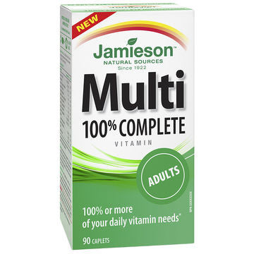 Jamieson Multivitamin 100% Complete for Adults 90 caplets by Jamieson - Ebambu.ca natural health product store - free shipping <59$