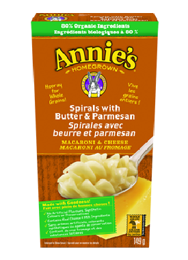 Annie's Homegrown - Spirals with Butter and Parmesan 149 g - Ebambu.ca free delivery >59$