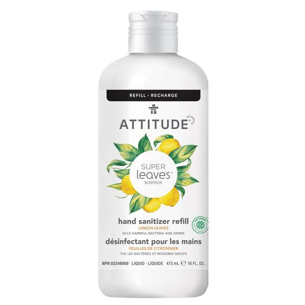 Attitude - Hand Sanitizer - 6 scents - Lemon Leaves Refill 473 ml - Ebambu.ca free delivery >59$