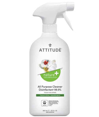 Attitude - Cleaner Disinfectant 99.9% 800 ml by Attitude - Ebambu.ca natural health product store - free shipping <59$