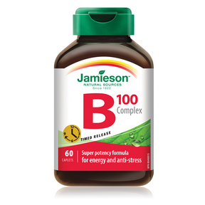 Jamieson B Complex Timed Release 100 mg 60 caplets by Jamieson - Ebambu.ca natural health product store - free shipping <59$